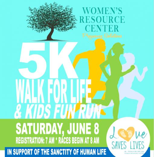 5k walk for life and kids fun run poster
